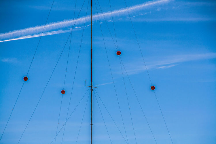 Austria Balls Blue Carinthia Cloud Colorful Hanging In A Row Kärnten Low Angle View Mast Mid-air MölltalerGletscher No People Outdoors Radio Radio Mast. Sky Technology Wires Wires In The Sky