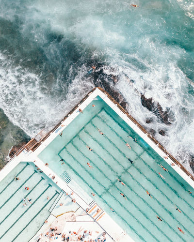 High angle view of swimming pool