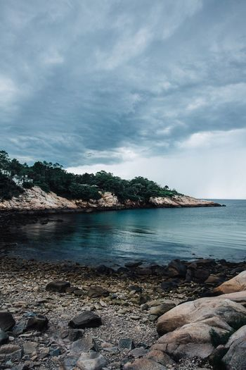 Sky Cloud - Sky Sea Water Beach Nature Scenics Beauty In Nature Tranquility Tranquil Scene No People Day Outdoors Tree Horizon Over Water