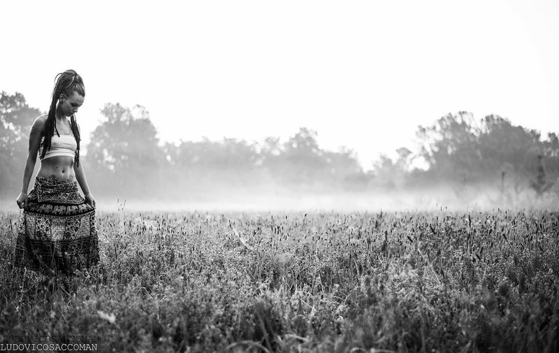 Sixoclock Cold Temperature Girl Blackandwhite Bianco E Nero Nebbia Fog EyeEm Selects Field Land Plant Growth Sky Beauty In Nature Landscape Nature Day Environment Tranquility Tranquil Scene Rural Scene Farm Outdoors Tree Scenics - Nature