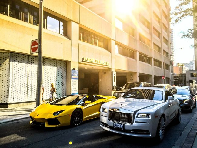 Taxi Yellow City Car Yellow Taxi Lens Flare Transportation Sunlight Built Structure Old-fashioned Illuminated No People Architecture Cityscape Outdoors Day Lamborghini Aventador Supercars Rolls-Royce Mississauga Toronto Canada Torontophotographer Toronto