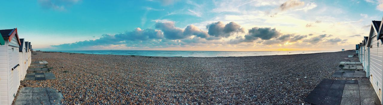 Goring beach Beach Goring By Sea England Sea Sand Rocks Sky Gradient Panorama Panoramic Cloud - Sky Water Nature Horizon Architecture Horizon Over Water Scenics - Nature Land Day Tranquil Scene Built Structure Incidental People Beauty In Nature Tranquility Travel Outdoors