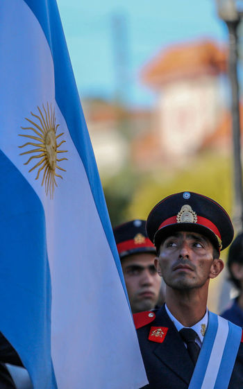 Bomber Argentina Argentinian Flag Bomberos Day Flag Men Outdoors People Real People Uniform