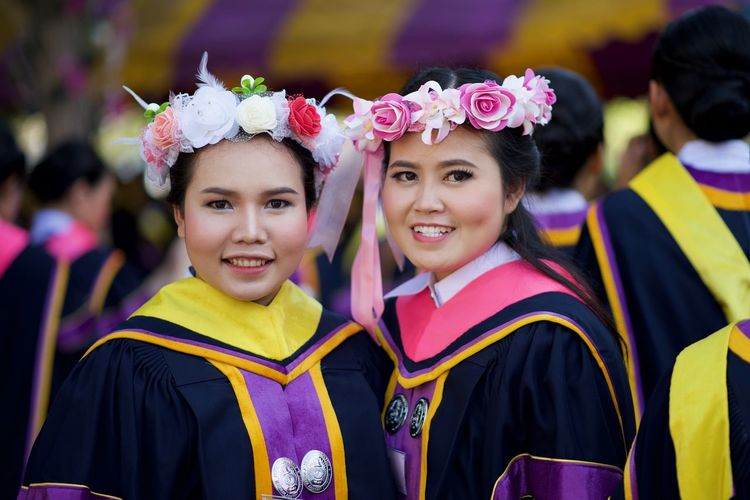 Thailand University Graduation ,my first test. Graduated Graduating Graduation Thailand Graduation University Graduation Adult Focus On Foreground Friendship GradYear Gradation Graduate Graduate Example Graduation 2017 Graduation Ceremony Graduationday Group Portrait Looking At Camera Outdoors People Portrait Real People Standing Togetherness Young Adult Young Women