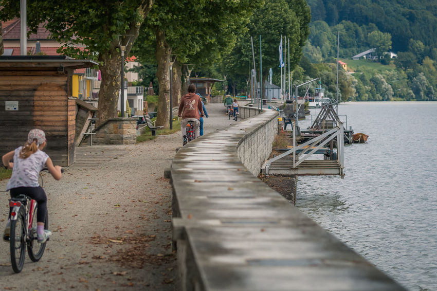 A family is cycling at the Donau boardwalk. Donau Family Adult Architecture Bicycle Bikeway Building Exterior Built Structure Childhood Cycleway Day Full Length Girls Lifestyles Men Nature Nusshain 08 17 Outdoors People Real People River Transportation Tree Water Young Adult
