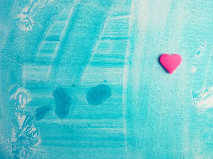 Heart Love Neon Pink Pastel Power Pastel Blue Symbol Canvas Acrylic Painting Abstract Background Solitary Heaven
