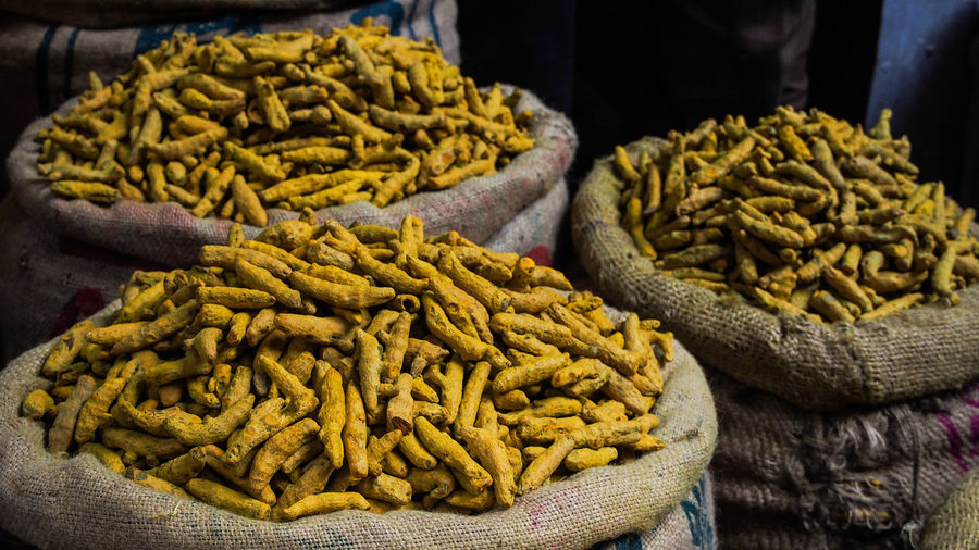 Close-up of turmeric spice for sale in market