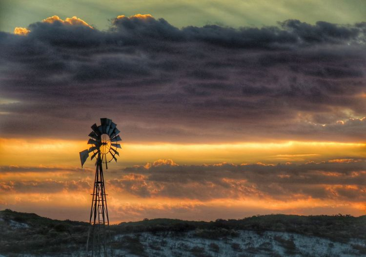 EyeEm Selects Wind Pump Windmill Clouds And Sky Cloudscape Illuminated Sunset Dramatic Sky