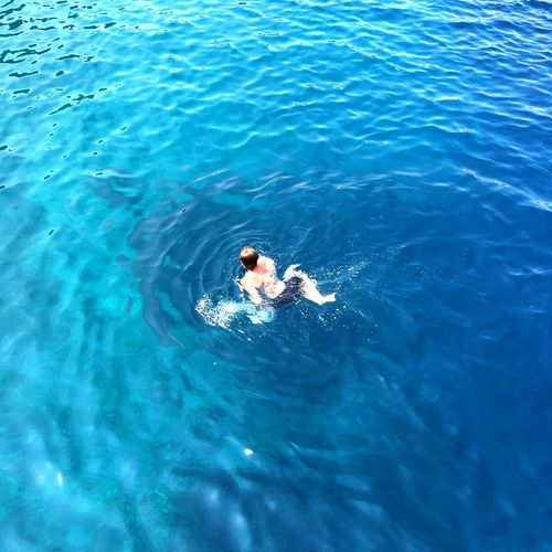 High angle view ofman swimming in sea