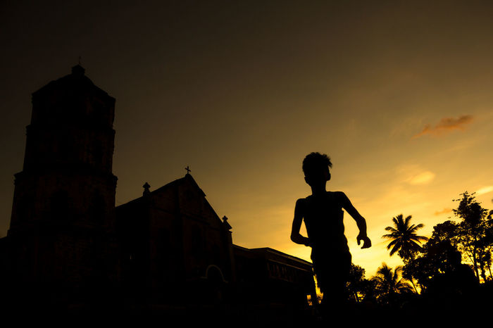 Sunset Silhouette Nature Real People Orange Color One Person Architecture Building Exterior Building Magdalena Churc