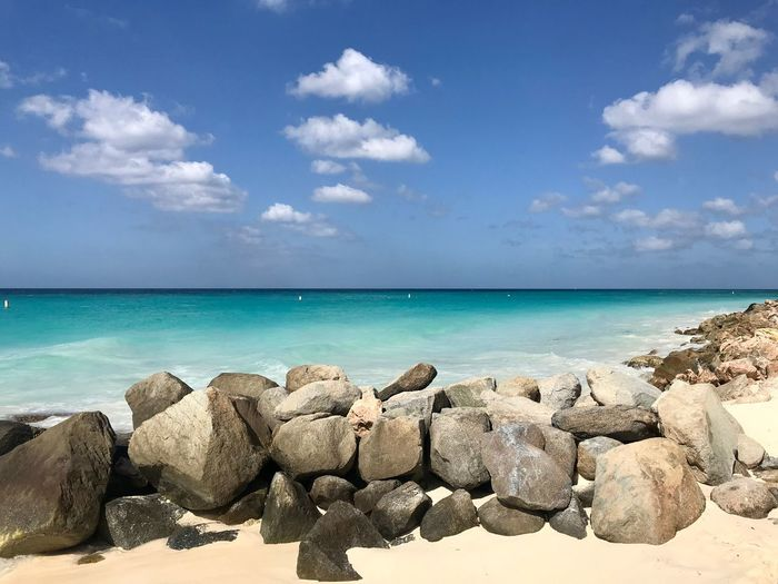 Landscape Leisure Aruba Travel Caribbean Sea Sky Cloud - Sky Water Beauty In Nature Nature Rock - Object Horizon Over Water Day Tranquility Outdoors Scenics Sunlight Blue Tranquil Scene No People
