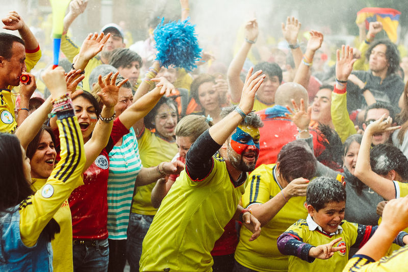 #Seleccion Colombia # Mundial Brasil 2014 Celebration Fan - Enthusiast Fun Large Group Of People Men Outdoors People Soccer EyeEmNewHere