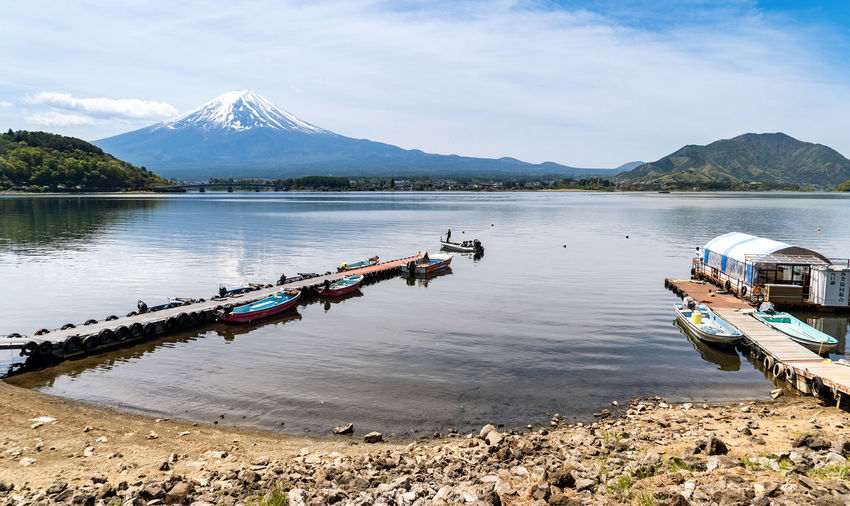 Mountain Water Transportation Mode Of Transportation Scenics - Nature Beauty In Nature Nautical Vessel Sky Lake Cloud - Sky Mountain Range Nature Tranquility Tranquil Scene Day Reflection Non-urban Scene Moored No People Outdoors Mountain Peak Snowcapped Mountain