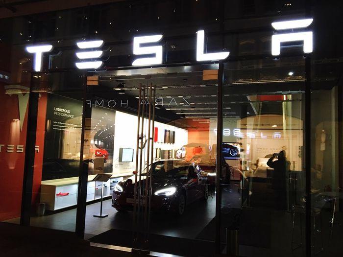 Tesla Teslamotors Electricity  Auto Night Automobile Electric Car Store Window Nightphotography