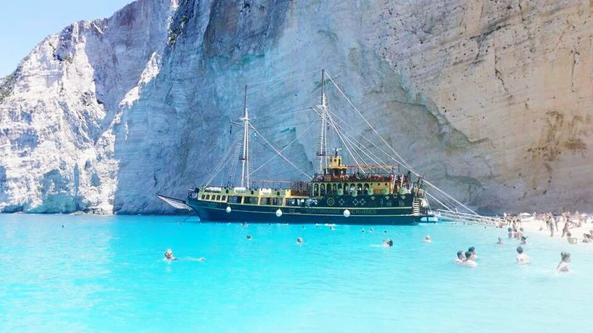 Beach Shipwreck Bay Travel Nature_collection Holiday Sea View Cliffside Rock Ship