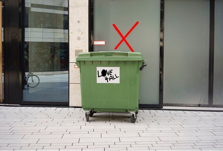 Love For All Tag Graffiti Art Communication Sign Garbage Bin Architecture Safety Text No People Environmental Conservation City Recycling Street Environment Recycling Bin Environmental Issues Western Script Day Garbage Can Road Outdoors