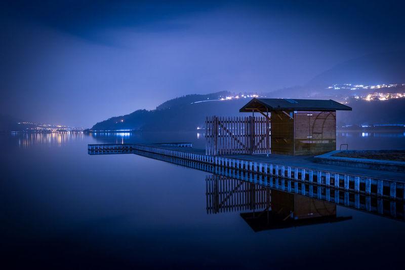 Pier over calm lake