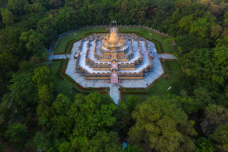Aerial view of temple in forest