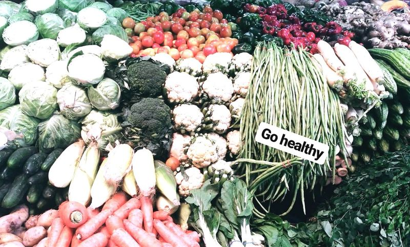 GO Healthy #HealthyEating #healthylife #Vegetables #greenery Text Price Tag Retail  For Sale Choice High Angle View Day