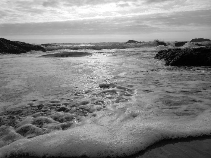 Blackandwhite Water Sea Wave Beach Low Tide Sand Sky Landscape Cloud - Sky Rocky Coastline Coast