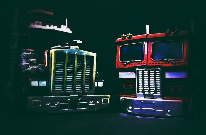 80s Double Trouble #double #duo Tractor Truck 80s Icon Timeless Time Machine Team Rig darkness and light Close-up View Vintage Semi-truck