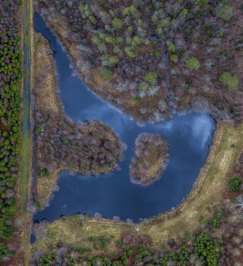 Aerial View Of Lake Amidst Trees