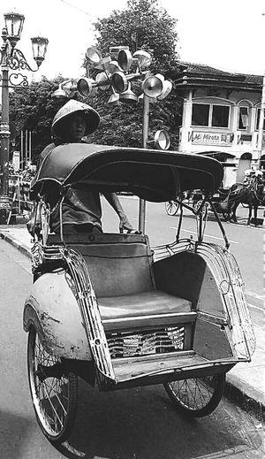 Traditional Transportation Malioboro Yogyakarta INDONESIA Streetphotography Photography Black And White Blackandwhite Photography Holidays