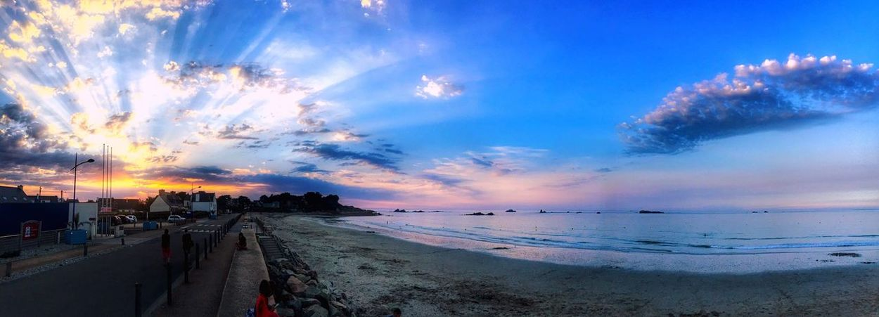 Sunset Sea Beach Sky Cloud - Sky Water Beauty In Nature Scenics Nature Horizon Over Water Sand Outdoors Tranquil Scene Tranquility Nautical Vessel Vacations Real People Wave Day Tranquility Bretagne My Love Bretagnetourisme Bretagne City Waterfront