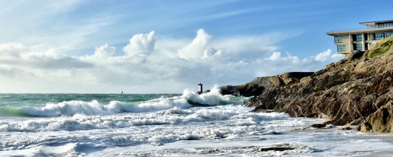 Sea Water Sky Wave Motion Beach Land Cloud - Sky Nature Horizon Over Water Rock Panoramic Architecture Brittany Bretagnetourisme Bretagne Storm Le Conquet