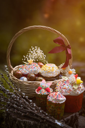 Close-up of cupcakes in basket