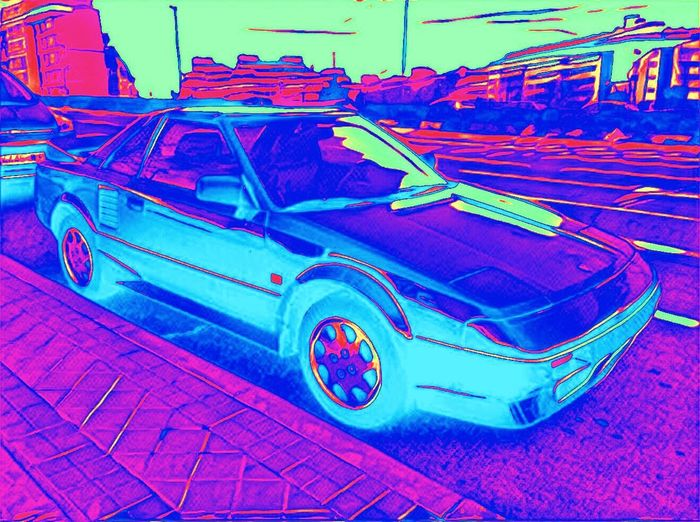 Cars Car ArtWork Transportation Mode Of Transport Land Vehicle No People Stationary Outdoors Retro Future Retro Futurism Retro Futuristic Pink Color Colorsplash Color Explosion 80s 80spopculture 80s Style Vibrant Colors Neon Lights Retro Car Classic