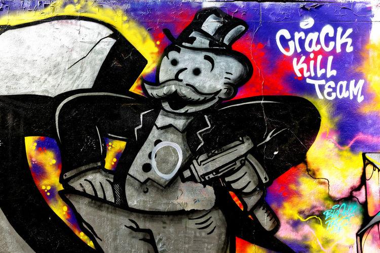 Paris - Ordener - Mr Monop Aerosol Can Close-up Colored Crack Kill Team Day Exploration Exploring Graff Graffiti Graffiti Graffiti Art Mister Monop Monopoly Moth4fok Mr Multi Colored No People Ordener Outdoors Paris Street Art Tag Urban Urbex EyeEm Selects EyeEmNewHere Neon Life Breathing Space The Week On EyeEm