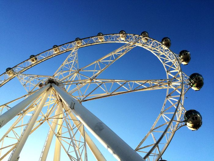 Melbourne City Melbourne Panoramic Wheel Amusement Park Ride Amusement Park Arts Culture And Entertainment Sky Blue Low Angle View Ferris Wheel Clear Sky