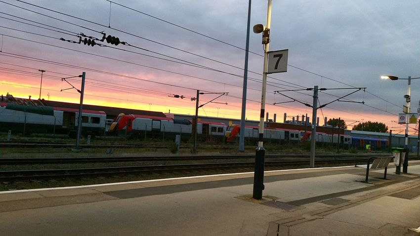 Train Station Waiting For A Train Public Transport Outdoors Electricity Pylon Sky Cable Architecture Skyline Sunsets Sky