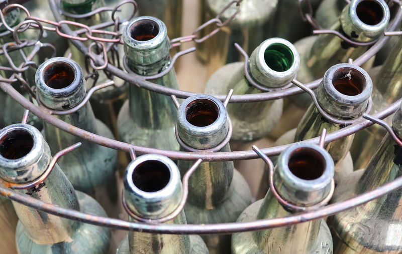 Old empty bottles in a close up view