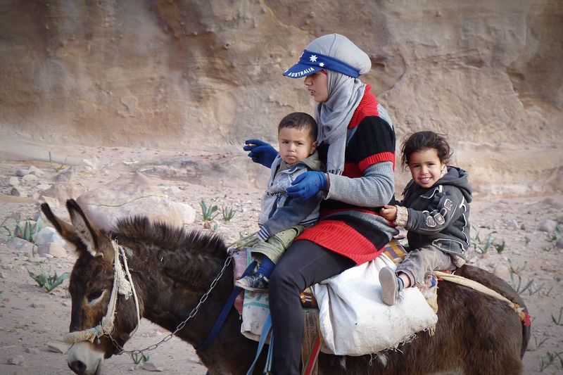 RePicture Motherhood Travel Photography Jordan Children Muslim Woman Kids Riding A Donkey People Service Animals Back From Work Untold Stories