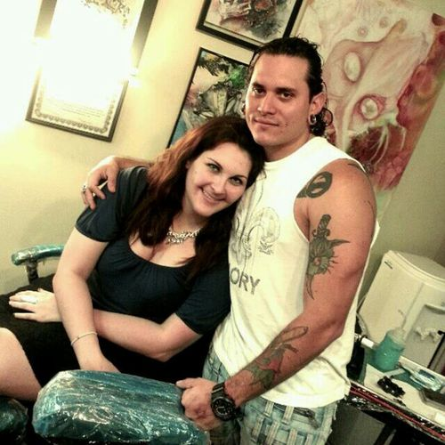 Hanging Out Good Friends Tattoo Artist Goofing Around