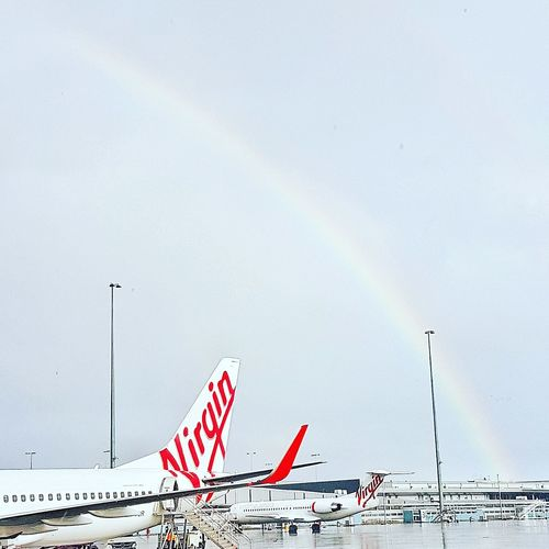 EyeEm Selects Rainbow OutdoorsDay Nature Sky Virgin Australia Airport Wet Weather
