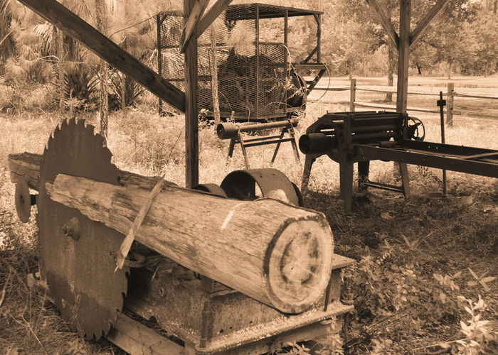 A look back at the way things used to be done in Florida Great Grandparents Hard Times Old Fashioned Old School Old Technology Pioneers Swamp Abandoned Day Field Florida Life Machinery Nature No People Outdoors Sepia Vintage Wood - Material