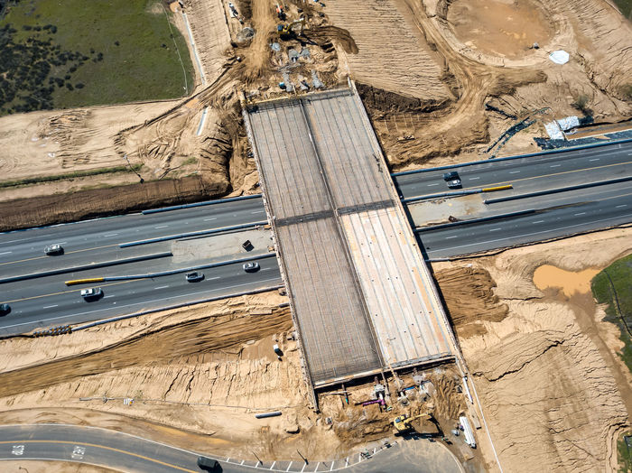 Beaumont, CA / USA - 2/23/2019: Construction of the Potrero Blvd / SR-60 interchange Transportation High Angle View Day Mode Of Transportation Nature No People Outdoors Industry Transportation Construction Overpass Highway Freeway New Road  Road Bridge - Man Made Structure Rebar Concrete Dirt Development