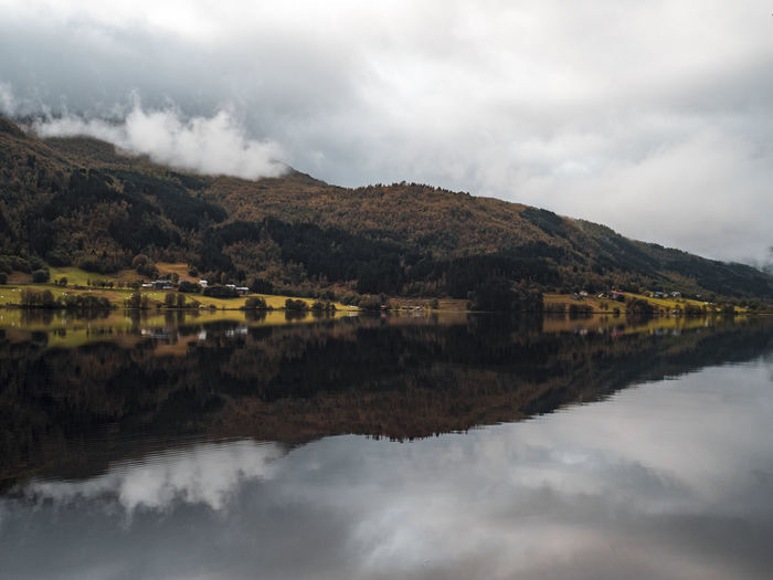 Reflection Mountain Landscape Outdoors No People Nature Sky Scenics Water Day Cloudy Lost In The Landscape Rain Farm Rural Norway Fjord Autumn Fall Moody