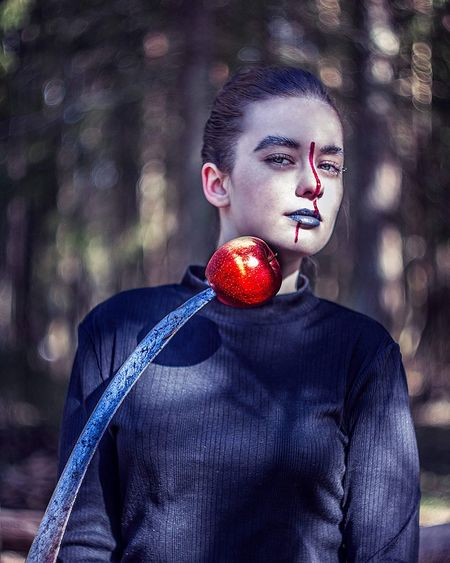 From My Point Of View Inspired By Nature Forrest Lost in the Landscape Portrait Beauty Red Arts Culture And Entertainment Lipstick Face Paint Eye Make-up Make-up Body Paint