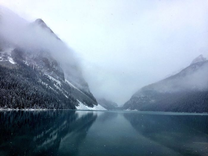 Canada IPhoneography Water Beauty In Nature Nature Fog Scenics - Nature Cold Temperature No People Lake Sky Winter Day Reflection Snow Tranquility Outdoors Mountain Environment Power In Nature