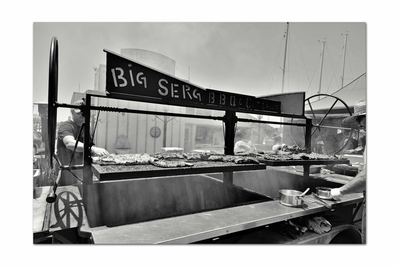 Hanging Out At Jack London Square 3 Port Of Oakland, Ca. Jack London Square Bnw_friday_eyeemchallenge Bnw_street BBQ Barbecue Rib Rack Grill Smoke Grilling Ribs Men Barbecuing Sauce Pans Shadows Monochrome_Photography Monochrome Black & White Black & White Photography Black And White Black And White Collection  Bnw_streetphotography Urban Photography