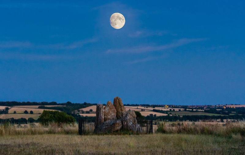 Sky Moon Landscape Tranquility No People Beauty In Nature Neolithic Stones Moonlight Outdoors Night