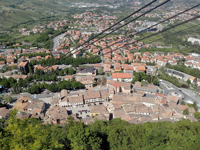 Architecture City Life City Of San Marino Cityscape Day Elevated View Human Settlement Monte Titano More Vehicles Than People Nice And Clean San Marino Country.... Sunny Days TOWNSCAPE View From Above