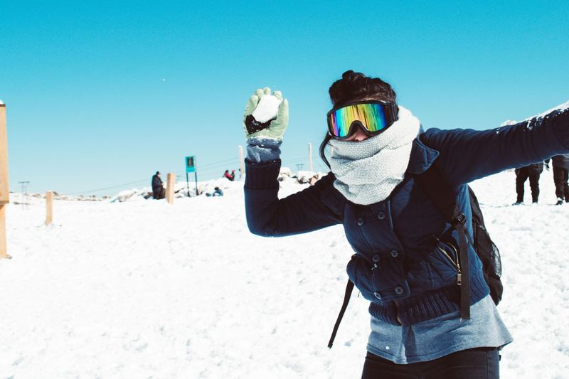 Warm Clothing Snow Cold Temperature Men Winter Ski Holiday Clear Sky Snowboarding Human Hand Young Women