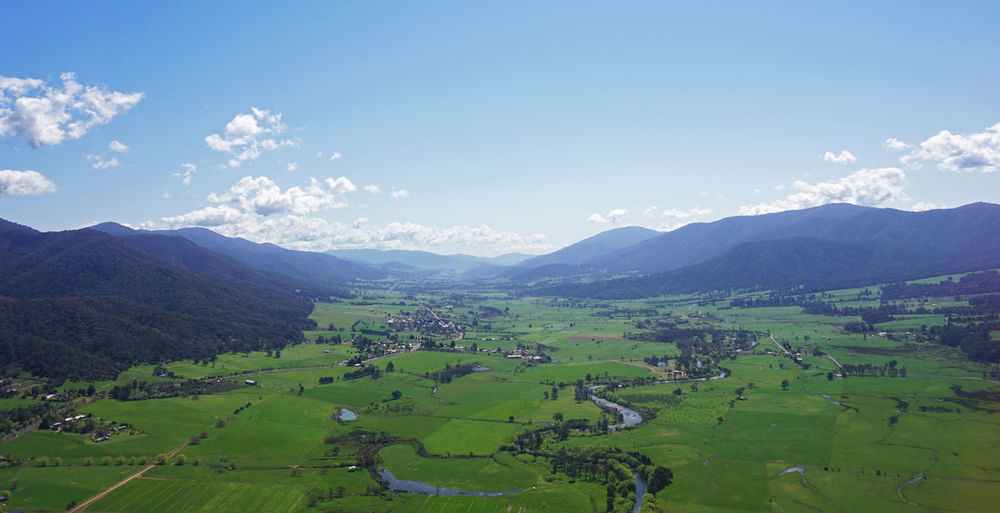 Taken while coming in for landing at Mt Beauty in a Cessna 182, overlooking the Kiewa Valley in North-Eastern Victoria. Australia Clear Blue Sky Farmland Greenery Kiewa Kiewa Valley Landscape Landscape_photography Mountains Mountains And Sky Mt Beauty Sony A6000 Valley Victoria, Australia