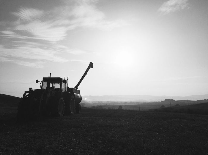 Agricultural Machinery Field Rural Scene Agriculture Outdoors Machinery Land Vehicle Beauty In Nature Tractor EyeEm Best Shots - Black + White Black And White Bw_collection Shootermag Monochrome