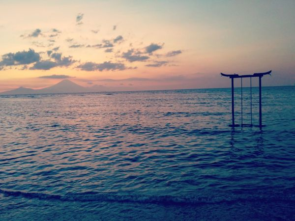 Sea Seascape Vacations Sky Tranquility No People Non-urban Scene Sunset Gili INDONESIA Horizon Over Water Swing Water Nature Ocean